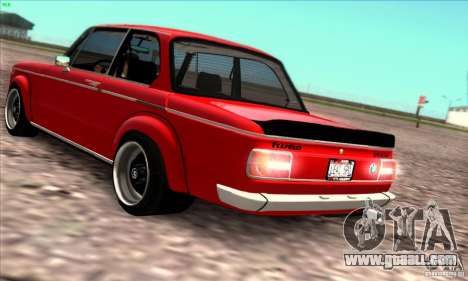 BMW 2002 Turbo for GTA San Andreas inner view