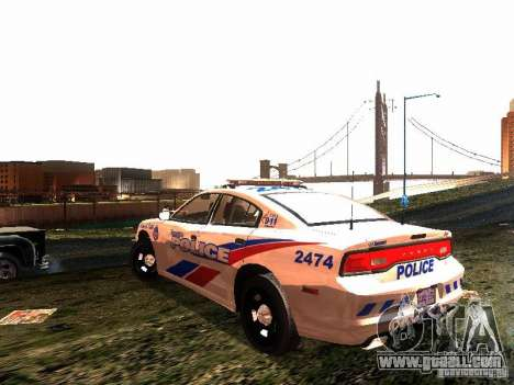 Dodge Charger 2011 Toronto Police for GTA San Andreas back left view