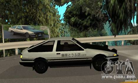 Toyota Sprinter Trueno GT-APEX AE86 83 Initial D for GTA San Andreas back left view