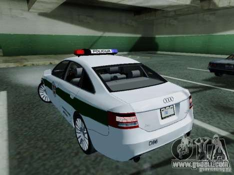 Audi A6 Police for GTA San Andreas back left view