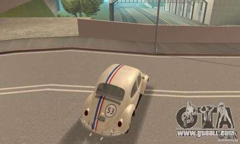 Volkswagen Beetle 1963 for GTA San Andreas upper view