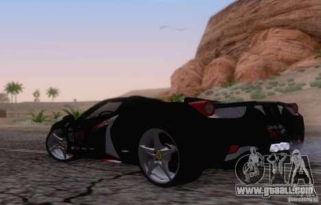 Ferrari F458 for GTA San Andreas right view