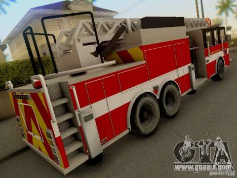 Pierce Firetruck Ladder SA Fire Department for GTA San Andreas back view