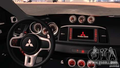 Mitsubishi Lancer Evolution X Tunable for GTA San Andreas bottom view