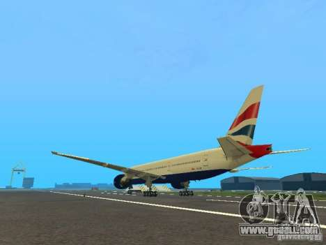 Boeing 777-200 British Airways for GTA San Andreas back left view
