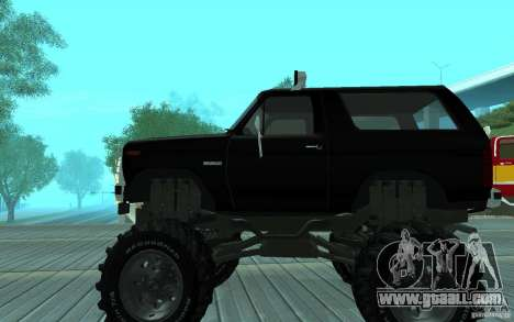 Ford Bronco Monster Truck 1985 for GTA San Andreas back left view