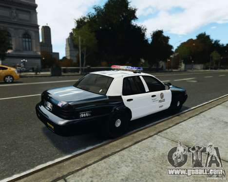 Ford Crown Victoria LAPD for GTA 4 back left view