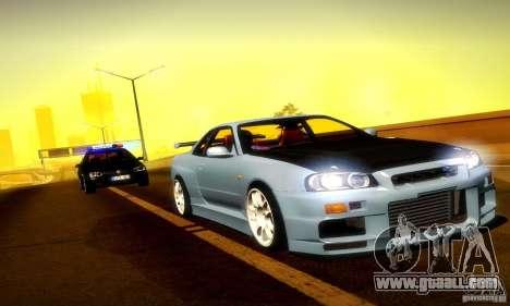 Nissan Skyline GT-R R34 for GTA San Andreas inner view