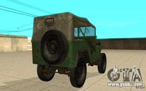 Gaz-64 skin 1 for GTA San Andreas back left view