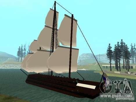XVIII Century Battleship for GTA San Andreas back left view