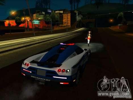 Koenigsegg CCX Police for GTA San Andreas inner view