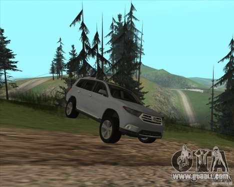 Toyota Highlander for GTA San Andreas inner view