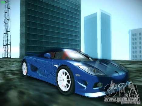 Koenigsegg CCXR Edition for GTA San Andreas back left view