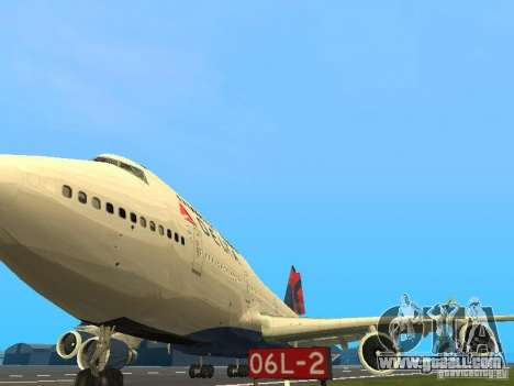 Boeing 747-400 Delta Airlines for GTA San Andreas inner view