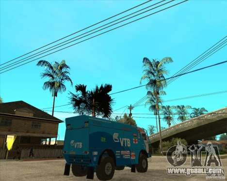 KAMAZ 4911 (2007) Rally Raid version for GTA San Andreas back left view