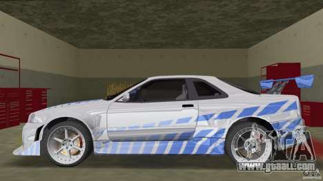 Nissan Skyline R-34 2Fast2Furious for GTA Vice City left view