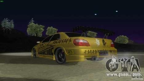 Subaru Impreza WRX No Fear for GTA San Andreas back view