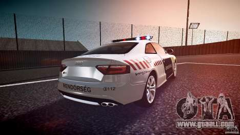 Audi S5 Hungarian Police Car white body for GTA 4 side view