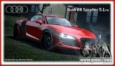 Audi R8 Spyder 2010 v 2.0 for GTA 4