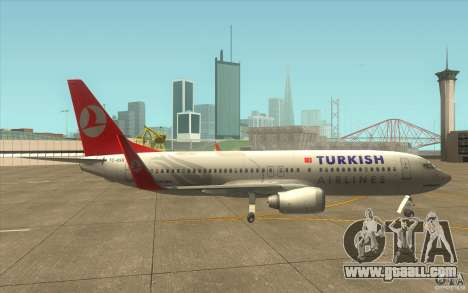 Boeing 737-800 THY for GTA San Andreas back left view