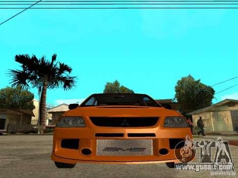 Mitsubishi Lancer Evo IX MR Edition for GTA San Andreas interior