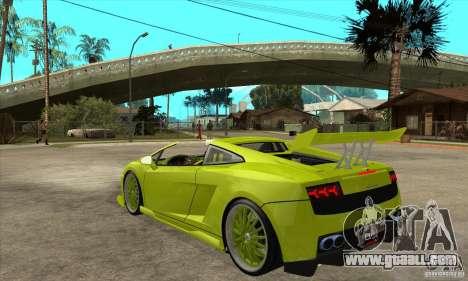 Lamborghini Gallardo LP560-4 Hamann for GTA San Andreas back left view