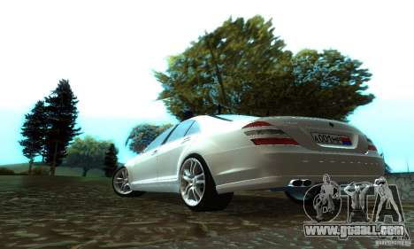 Mercedes-Benz S500 W221 Brabus for GTA San Andreas back left view