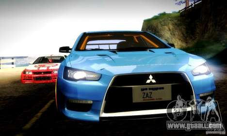 Mitsubishi Lancer Evo X Tuned for GTA San Andreas upper view