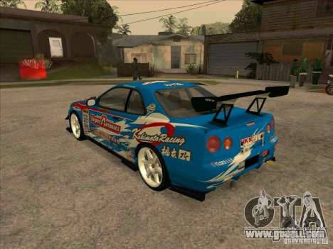 Nissan Skyline GT-R R34 Super Autobacs for GTA San Andreas back left view