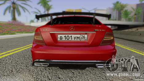Mercedes Benz C63 AMG Black Series 2012 for GTA San Andreas upper view