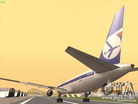Boeing 767-300 LOT Polish Airlines for GTA San Andreas inner view