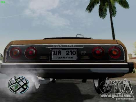 Nissan Skyline 2000GT C210 for GTA San Andreas back view