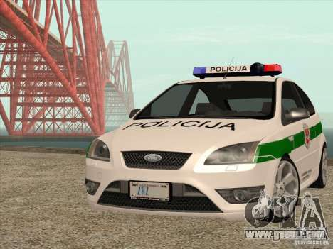 Ford Focus ST Policija for GTA San Andreas back view