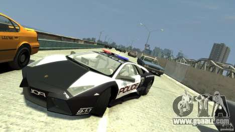 Lamborghini Reventon Police Hot Pursuit for GTA 4 back view