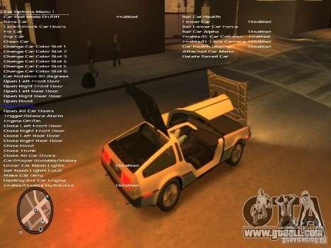 De Lorean DMC 12 for GTA 4 inner view