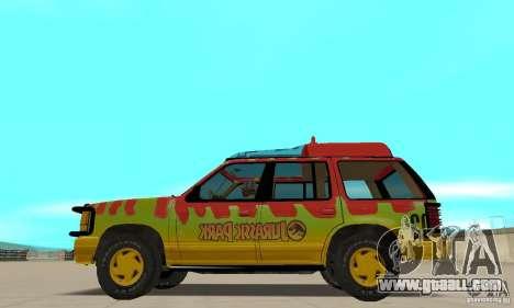 Ford Explorer (Jurassic Park) for GTA San Andreas left view