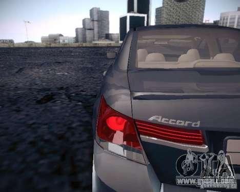 Honda Accord 2011 for GTA San Andreas back view