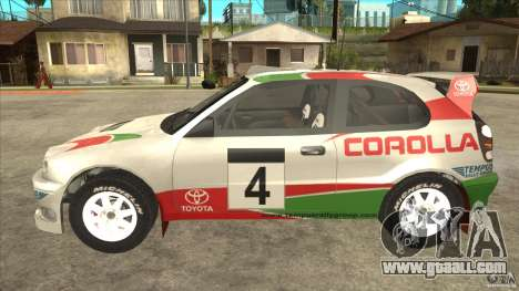 Toyota Corolla 1999 Rally Champion for GTA San Andreas right view