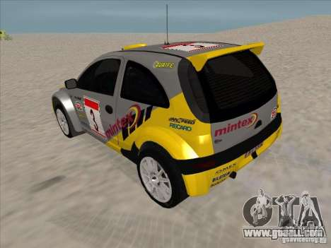 Opel Rally Car for GTA San Andreas back left view