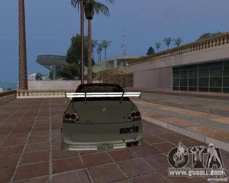 Mitsubishi Lancer Evolution VIII for GTA San Andreas upper view
