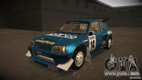 Peugeot 205 T16 for GTA San Andreas bottom view