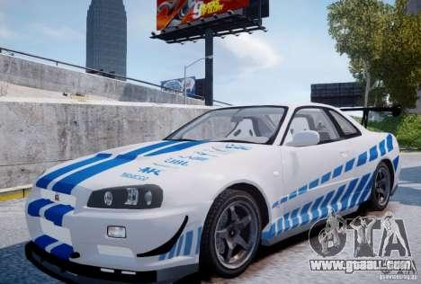 Nissan Skyline GT-R R34 2F2F for GTA 4