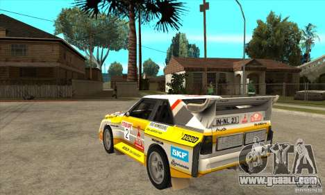 Audi Quattro S1 Group B for GTA San Andreas back left view