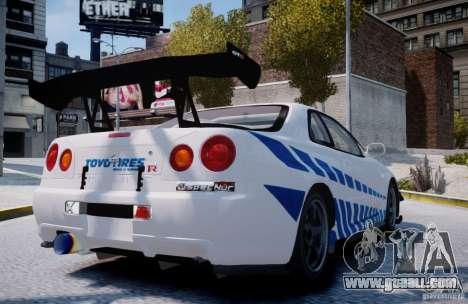 Nissan Skyline GT-R R34 2F2F for GTA 4 back left view