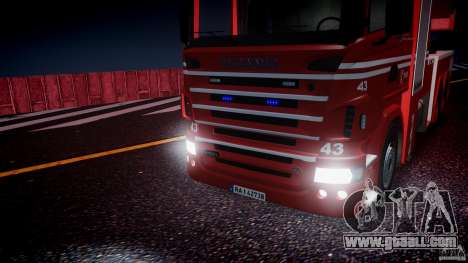 Scania Fire Ladder v1.1 Emerglights blue [ELS] for GTA 4 side view