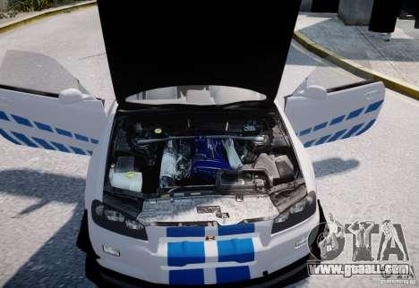 Nissan Skyline GT-R R34 2F2F for GTA 4 inner view