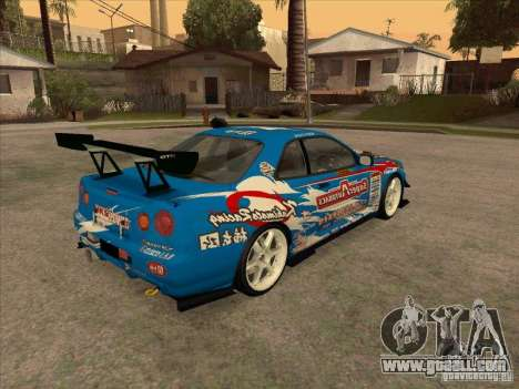 Nissan Skyline GT-R R34 Super Autobacs for GTA San Andreas right view