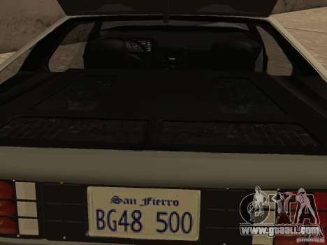 DeLorean DMC-12 for GTA San Andreas upper view