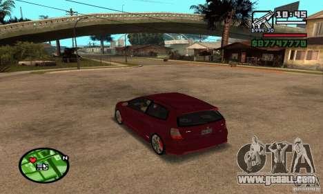 Honda Civic Type R stock for GTA San Andreas back left view