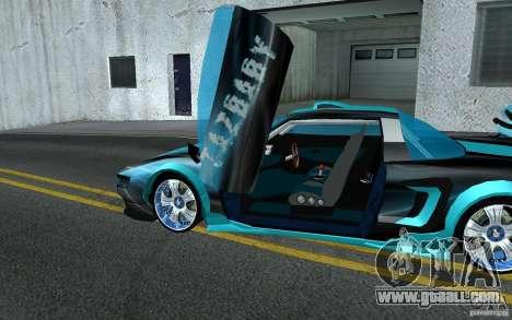 Baby blue Infernus for GTA San Andreas inner view